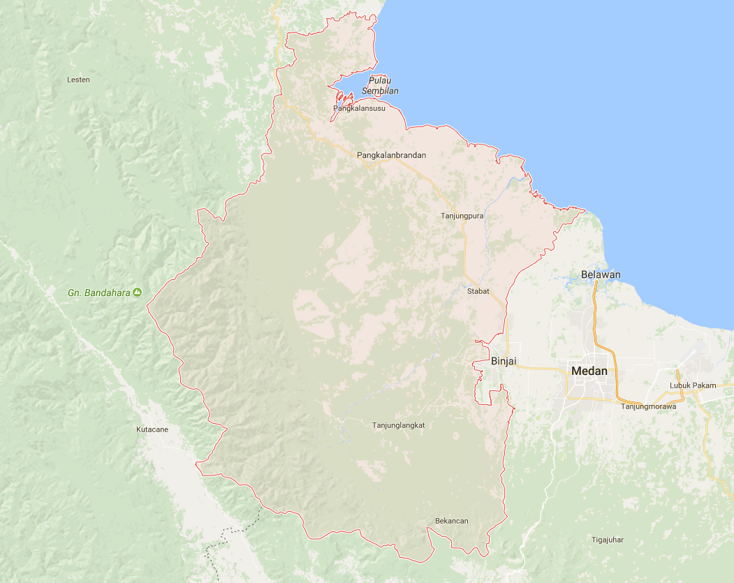 Map of Langkat Regency, North Sumatra, Indonesia