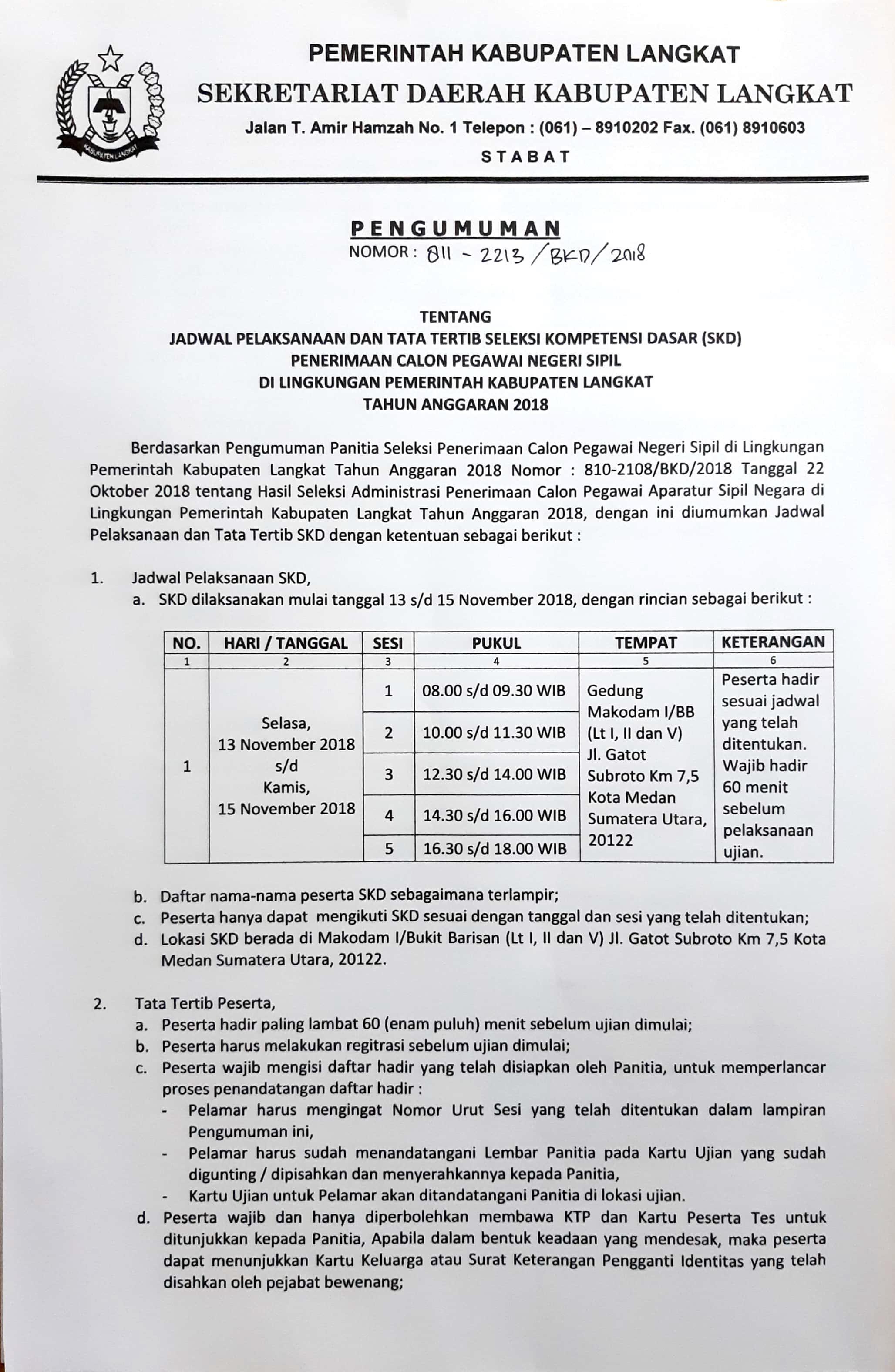 Jadwal Dan Tata Tertib Seleksi Kompetensi Dasar Skd Penerimaan Cpns 2018 Pemerintah Kabupaten Langkat